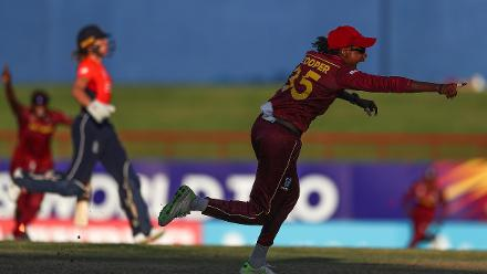 Britney Cooper of Windies celebrates running out Lauren Winfield of England during the ICC Women's World T20 2018 match between Windies and England at Darren Sammy Cricket Ground on November 18, 2018 in Gros Islet, Saint Lucia.