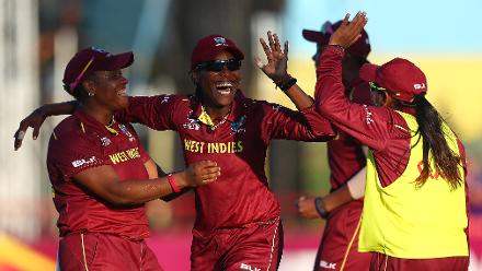 Britney Cooper of Windies is congratulated on2 running out Lauren Winfield of England during the ICC Women's World T20 2018 match between Windies and England at Darren Sammy Cricket Ground on November 18, 2018 in Gros Islet, Saint Lucia.