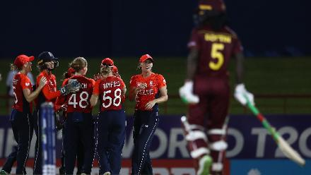 England celebrate the wicket of Deandra Dottin of Windies, after she was caught by Danielle Wyatt of England during the ICC Women's World T20 2018 match between Windies and England at Darren Sammy Cricket Ground on November 18, 2018.