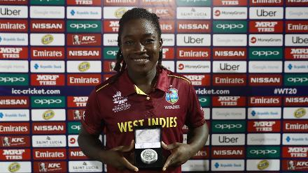 Deandra Dottin of Windies pictured with the 'Player of the Match' award after the ICC Women's World T20 2018 match between Windies and England at Darren Sammy Cricket Ground on November 18, 2018 in Gros Islet, Saint Lucia.