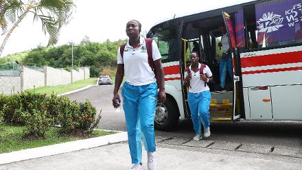 Stafanie Taylor of Windies arrives ahead of the ICC Women's World T20 2018 match between Windies and England at Darren Sammy Cricket Ground on November 18, 2018 in Gros Islet, Saint Lucia.