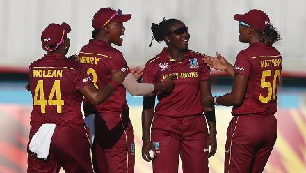 Stafanie Taylor of Windies is congratulated on catching Amy Jones of England during the ICC Women's World T20 2018 match between Windies and England at Darren Sammy Cricket Ground on November 18, 2018 in Gros Islet, Saint Lucia.
