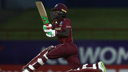 Deandra Dottin of Windies hits a six during the ICC Women's World T20 2018 match between Windies and England at Darren Sammy Cricket Ground on November 18, 2018 in Gros Islet, Saint Lucia.