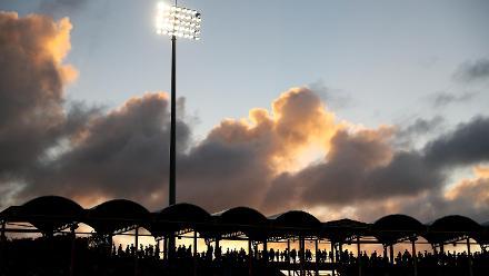 The sunsets over the Daren Sammy Cricket ground during the ICC Women's World T20 2018 match between West Indies and England at Darren Sammy Cricket Ground on November 18, 2018 in Gros Islet, Saint Lucia.