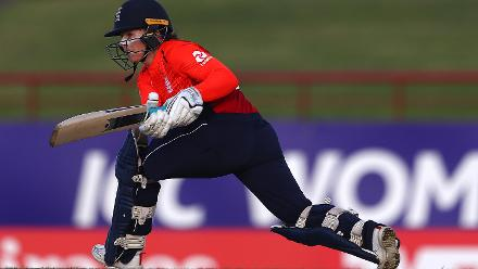 Tammy Beaumont of England sweeps the ball towards the boundary during the ICC Women's World T20 2018 match between Windies and England at Darren Sammy Cricket Ground on November 18, 2018 in Gros Islet, Saint Lucia.