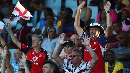 England fans show their support during the ICC Women's World T20 2018 match between Windies and England at Darren Sammy Cricket Ground on November 18, 2018 in Gros Islet, Saint Lucia.