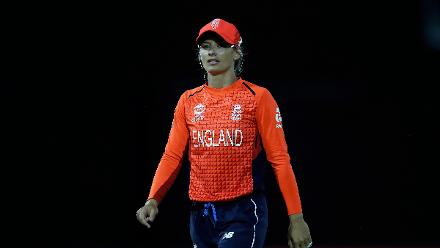 Danielle Wyatt of England looks on during the ICC Women's World T20 2018 match between Windies and England at Darren Sammy Cricket Ground on November 18, 2018 in Gros Islet, Saint Lucia.
