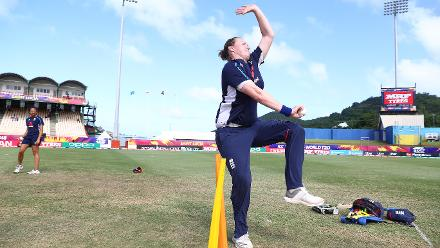 Anya Shrubsole of England warms up ahead of the ICC Women's World T20 2018 match between Windies and England at Darren Sammy Cricket Ground on November 18, 2018 in Gros Islet, Saint Lucia.