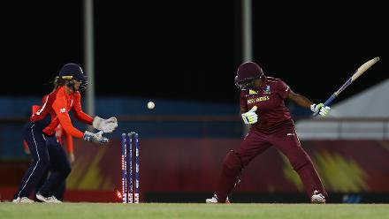 Natasha McLean of West Indies looks on, after being bowled by Sophie Ecclestone of England during the ICC Women's World T20 2018 match between West Indies and England at Darren Sammy Cricket Ground on November 18, 2018 in Gros Islet, Saint Lucia.