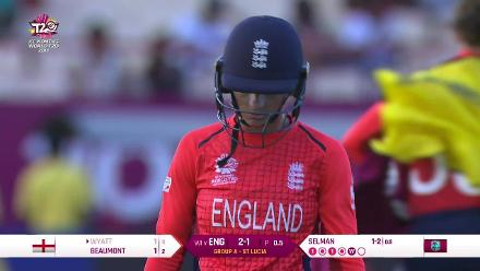 WI v ENG: Wyatt falls to Selman in the first over