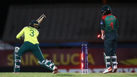 Faye Tunnicliffe of South Africa is bowled by Salma Khatun of Bangladesh during the ICC Women's World T20 2018 match between South Africa and Bangladesh at Darren Sammy Cricket Ground on November 18, 2018 in Gros Islet, Saint Lucia.