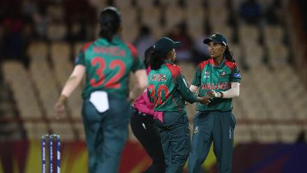 Salma Khatun of Bangladesh is congratulated on bowling Masabata Klaas of South Africa during the ICC Women's World T20 2018 match between South Africa and Bangladesh at Darren Sammy Cricket Ground on November 18, 2018 in Gros Islet, Saint Lucia.