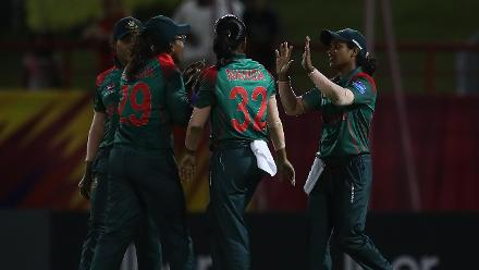 Fargana Hoque of Bangladesh is congratulate don catching Marizanne Kapp of South Africa during the ICC Women's World T20 2018 match between South Africa and Bangladesh at Darren Sammy Cricket Ground on November 18, 2018 in Gros Islet, Saint Lucia.