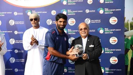 Saurabh Netravalkar with the Player of the Match award, USA v Singapore, 15th Match, ICC World Cricket League Division Three at Al Amarat, Nov 19 2018