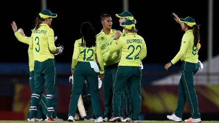 Moseline Daniels of South Africa is congratulated on bowling Ayasha Rahman of Bangladesh for LBW during the ICC Women's World T20 2018 match between South Africa and Bangladesh at Darren Sammy Cricket Ground on November 18, 2018.