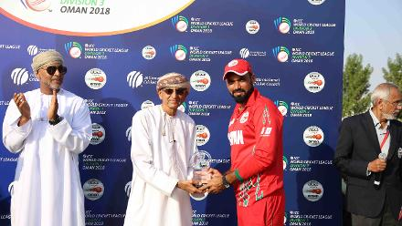 Bilal Khan with the Player of the Series award, USA v Singapore, 15th Match, ICC World Cricket League Division Three at Al Amarat, Nov 19 2018