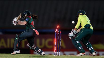 Sharmin Akhter of Bangladesh is bolwed by Sune Luus of South Africa during the ICC Women's World T20 2018 match between South Africa and Bangladesh at Darren Sammy Cricket Ground on November 18, 2018 in Gros Islet, Saint Lucia.
