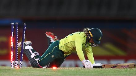 Mignon du Preez of South Africa looks on, after being run out by Nigar Sultana of Bangladesh during the ICC Women's World T20 2018 match between South Africa and Bangladesh at Darren Sammy Cricket Ground on November 18, 2018 in Gros Islet, Saint Lucia.