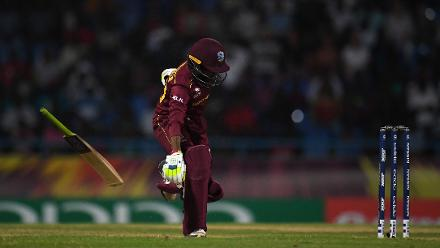 Shemaine Campbelle of Windies attempts to make her ground as she drops her bat during the ICC Women's World T20 2018 Semi-Final match between Windies and Australia at Sir Viv Richards Cricket Ground on November 22, 2018 in Antigua, Antigua and Barbuda.