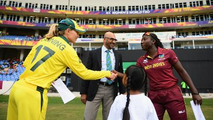 Meg Lanning, Captain of Australia (L) shakes hands with Stefanie Taylor, Captain of Windies (R) during the ICC Women's World T20 2018 Semi-Final match between Windies and Australia at Sir Viv Richards Cricket Ground on November 22, 2018 in Antigua.