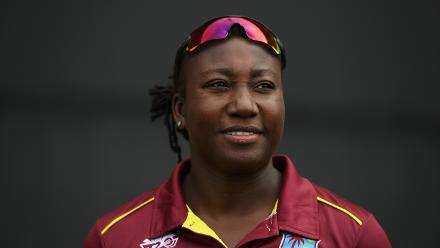 Stafanie Taylor of Windies looks on during the ICC Women's World T20 2018 Semi-Final match between Windies and Australia at Sir Viv Richards Cricket Ground on November 22, 2018 in Antigua, Antigua and Barbuda.