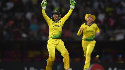 Alyssa Healy of Australia celebrates after taking a catch to dismiss Britney Cooper of Windies during the ICC Women's World T20 2018 Semi-Final match between Windies and Australia at Sir Viv Richards Cricket Ground on November 22, 2018.