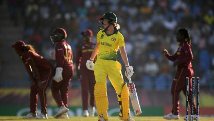 Meg Lanning of Australia reacts after just making her ground from a potential stumping chance during the ICC Women's World T20 2018 Semi-Final match between Windies and Australia at Sir Viv Richards Cricket Ground on November 22, 2018 in Antigua.