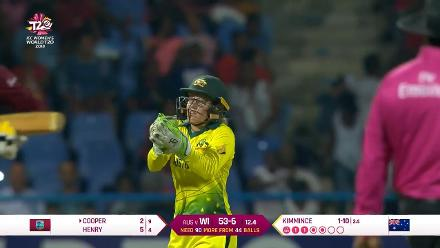 WI v AUS: Alyssa Healy holds on to a skyer to send back Cooper