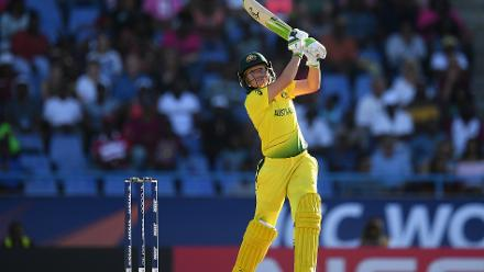 Alyssa Healy of Australia bats during the ICC Women's World T20 2018 Semi-Final match between Windies and Australia at Sir Viv Richards Cricket Ground on November 22, 2018 in Antigua, Antigua and Barbuda.