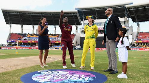 General view of the toss during the ICC Women's World T20 2018 Semi-Final match between Windies and Australia at Sir Viv Richards Cricket Ground on November 22, 2018 in Antigua, Antigua and Barbuda.