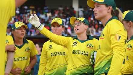 Alyssa Healy of Australia(C) gives orders during the ICC Women's World T20 2018 Semi-Final match between Windies and Australia at Sir Viv Richards Cricket Ground on November 22, 2018 in Antigua, Antigua and Barbuda