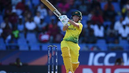 Beth Mooney of Australia bats during the ICC Women's World T20 2018 Semi-Final match between Windies and Australia at Sir Viv Richards Cricket Ground on November 22, 2018 in Antigua, Antigua and Barbuda.
