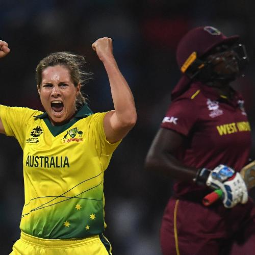 Delissa Kimmince of Australia celebrates after dismissing Stafanie Taylor of West Indies during the ICC Women's World T20 2018 Semi-Final match between Windies and Australia at Sir Viv Richards Cricket Ground on November 22, 2018 in Antigua,.