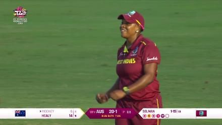 WI v AUS: Beth Mooney caught off Shakera Selman at mid-off