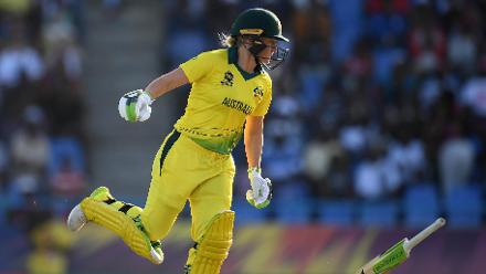 Alyssa Healy of Australia attempts to make her ground as her bat is knocked from her hand during the ICC Women's World T20 2018 Semi-Final match between Windies and Australia at Sir Viv Richards Cricket Ground on November 22, 2018 in Antigua.