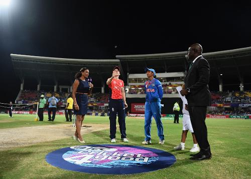 General view of the toss during the ICC Women's World T20 2018 Semi-Final match between England and India at Sir Viv Richards Cricket Ground on November 22, 2018 in Antigua, Antigua and Barbuda.