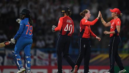 Kirstie Gordon of England(2R) celebrates after dismissing Veda Krishnamurthy of India during the ICC Women's World T20 2018 Semi-Final match between England and India at Sir Viv Richards Cricket Ground on November 22, 2018 in Antigua, Antigua and Barbuda.