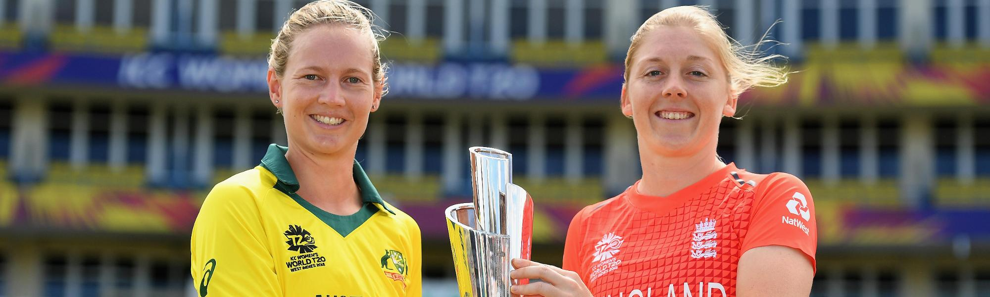 Meg Lanning, Captain of Australia and Heather Knight, Captain of England pose with the trophy during the ICC Women's World T20 Final 2018 - Previews at the Sir Vivian Richards Stadium on November 23, 2018 in Antigua, Antigua and Barbuda.