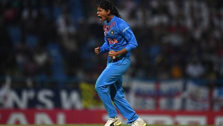 Radha Yadav of India celebrates after dismissing Tammy Beaumont of England during the ICC Women's World T20 2018 Semi-Final match between England and India at Sir Viv Richards Cricket Ground on November 22, 2018 in Antigua, Antigua and Barbuda.