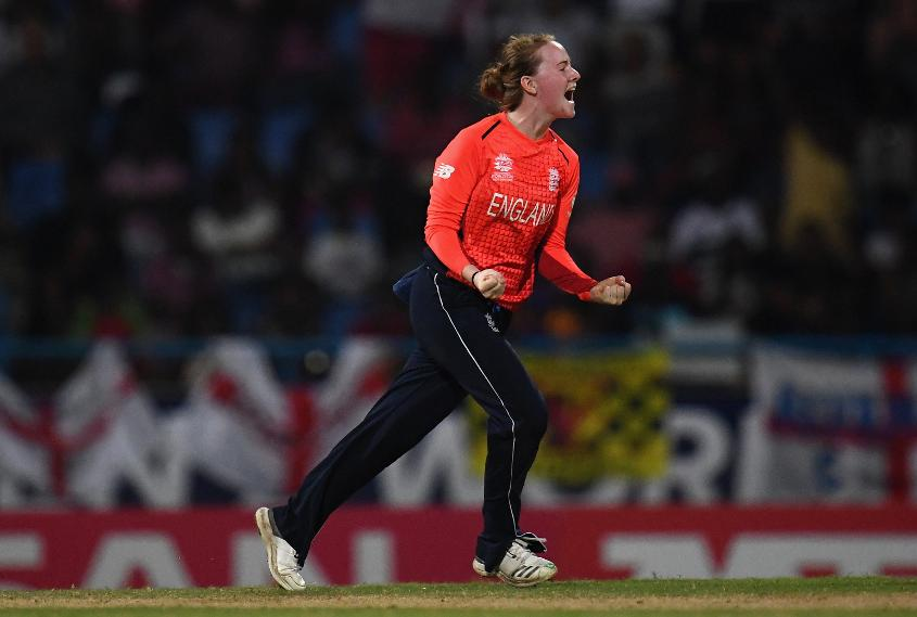 Kirstie Gordon of England celebrates after dismissing Harmanpreet Kaur of India during the ICC Women's World T20 2018 Semi-Final match between England and India at Sir Viv Richards Cricket Ground on November 22, 2018 in Antigua, Antigua and Barbuda.
