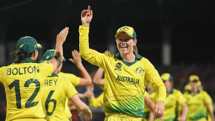 Meg Lanning of Australia(C) celebrates at the end of the match during the ICC Women's World T20 2018 Semi-Final match between Windies and Australia at Sir Viv Richards Cricket Ground on November 22, 2018 in Antigua, Antigua and Barbuda.