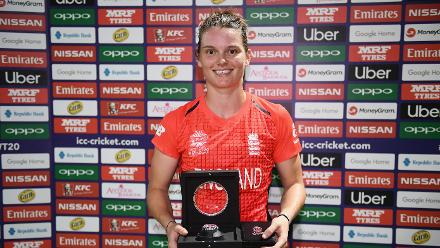 Amy Jones of England poses after being named player of the match during the ICC Women's World T20 2018 Semi-Final match between England and India at Sir Viv Richards Cricket Ground on November 22, 2018 in Antigua, Antigua and Barbuda.
