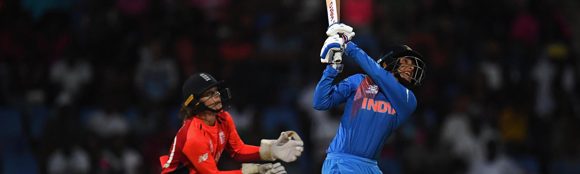 Smriti Mandhana of India bats during the ICC Women's World T20 2018 Semi-Final match between England and India at Sir Viv Richards Cricket Ground on November 22, 2018 in Antigua, Antigua and Barbuda.