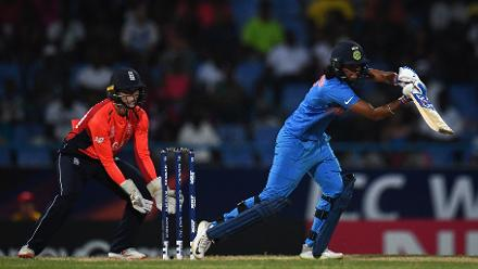 Harmanpreet Kaur of India bats during the ICC Women's World T20 2018 Semi-Final match between England and India at Sir Viv Richards Cricket Ground on November 22, 2018 in Antigua, Antigua and Barbuda.