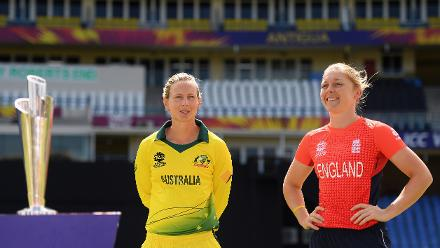 Meg Lanning, Captain of Australia and Heather Knight, Captain of England during the ICC Women's World T20 Final 2018 - Previews at the Sir Vivian Richards Stadium on November 23, 2018 in Antigua, Antigua and Barbuda.