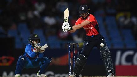Amy Jones of England bats during the ICC Women's World T20 2018 Semi-Final match between England and India at Sir Viv Richards Cricket Ground on November 22, 2018 in Antigua, Antigua and Barbuda.
