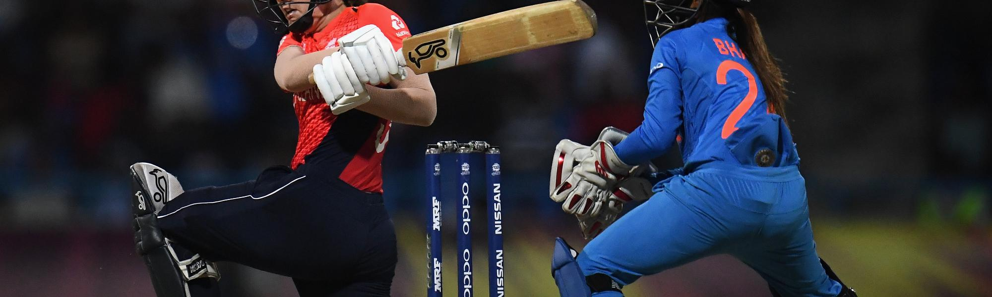 Natalie Sciver of England bats during the ICC Women's World T20 2018 Semi-Final match between England and India at Sir Viv Richards Cricket Ground on November 22, 2018 in Antigua, Antigua and Barbuda.