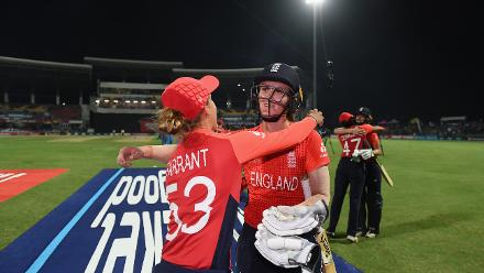 Tash Farrant and Natalie Sciver of England celebrate during the ICC Women's World T20 2018 Semi-Final match between England and India at Sir Viv Richards Cricket Ground on November 22, 2018 in Antigua, Antigua and Barbuda.
