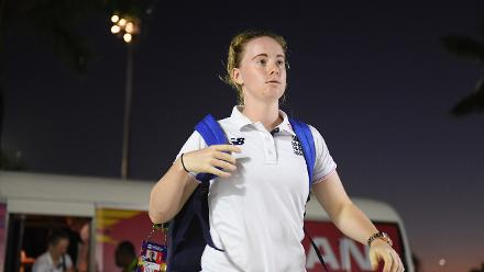 Kirstie Gordon of England arrives during the ICC Women's World T20 2018 Final between Australia and England at Sir Vivian Richards Cricket Ground on November 24, 2018 in Antigua, Antigua and Barbuda.
