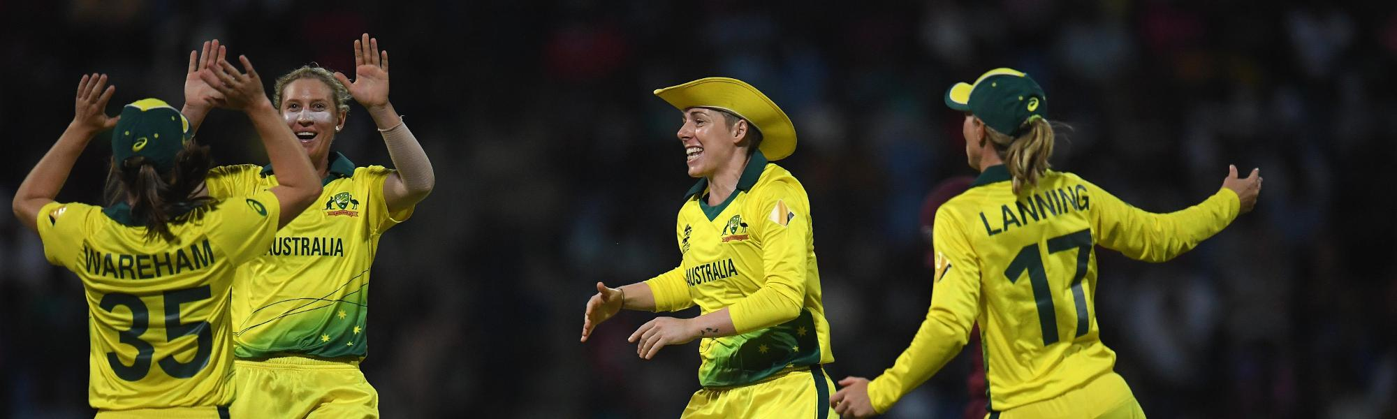 Delissa Kimmince of Australia(2L) celebrates after dismissing Natasha McLean of West Indies during the ICC Women's World T20 2018 Semi-Final match between West Indies and Australia at Sir Viv Richards Cricket Ground on November 22, 2018 in Antigua.